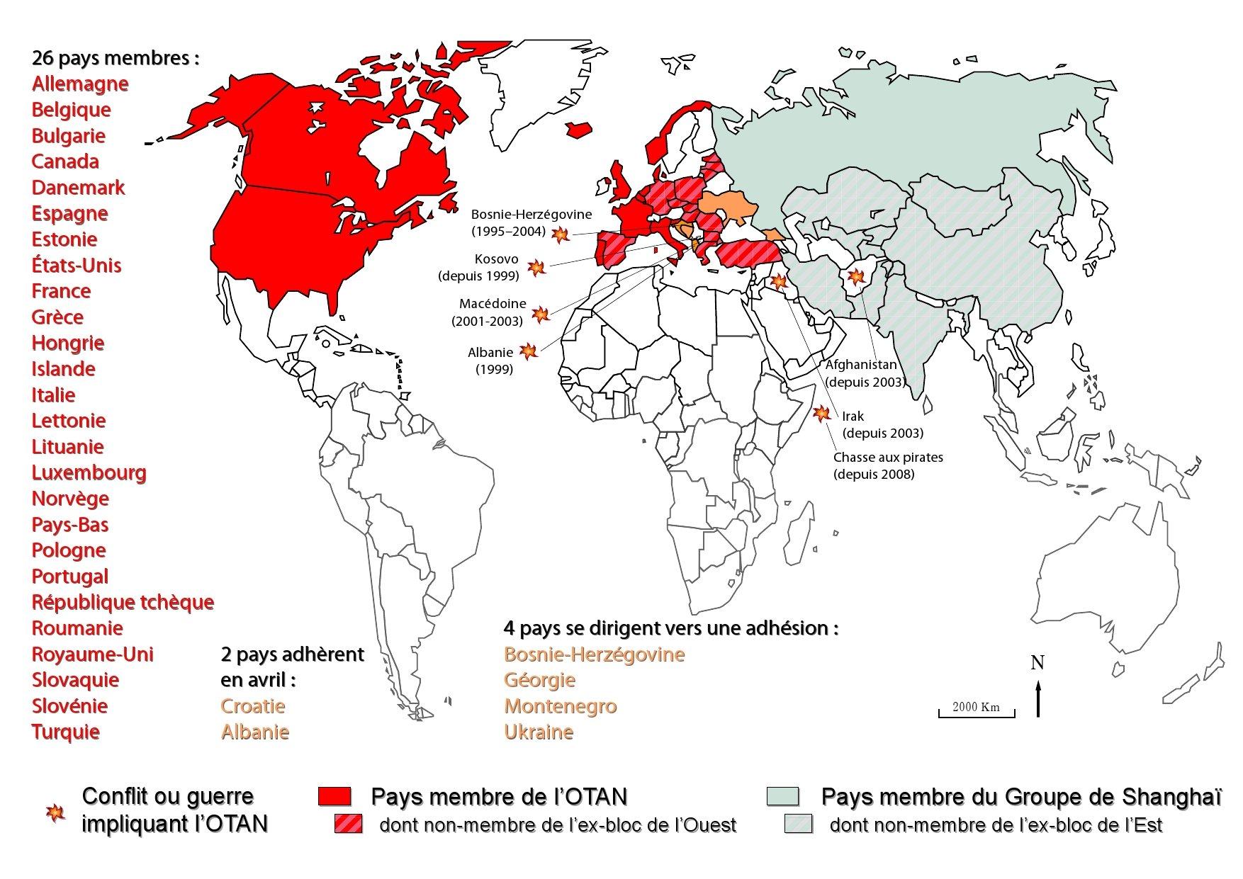 Otan dans le monde carte du monde avec les pays membres de l